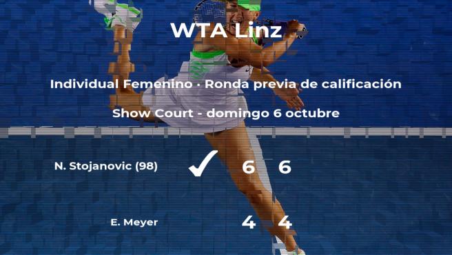 Nina Stojanovic consigue ganar en la ronda previa de calificación a costa de la tenista Emily Meyer