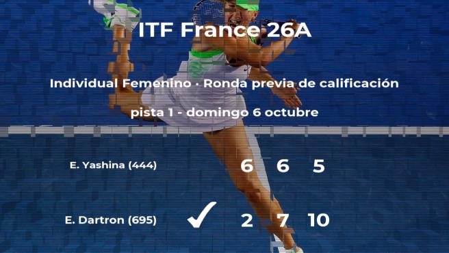 Emeline Dartron pasa a la siguiente fase del torneo ITF France 26A
