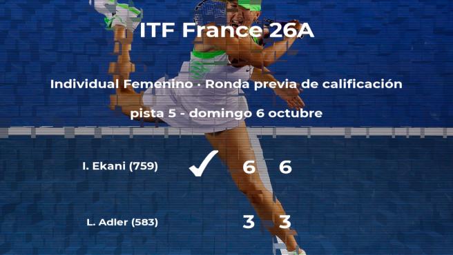 La tenista Irys Ekani vence en la ronda previa de calificación del torneo ITF France 26A