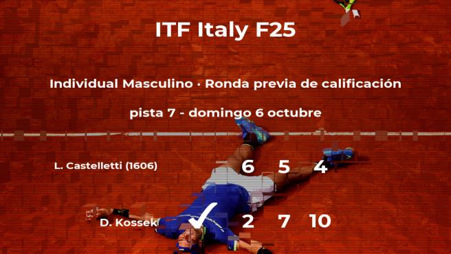 El tenista Daniel Kossek pasa de ronda del torneo de Santa Margherita Di Pula