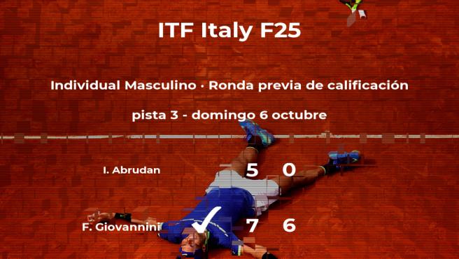 Filippo Giovannini pasa de ronda del torneo de Santa Margherita Di Pula