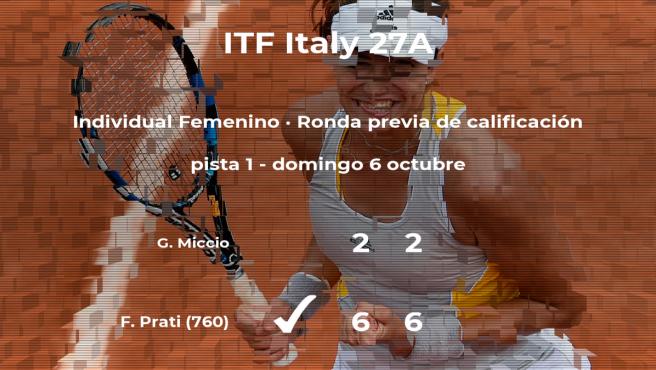 La tenista Federica Prati logra ganar en la ronda previa de calificación contra Giuseppina Miccio