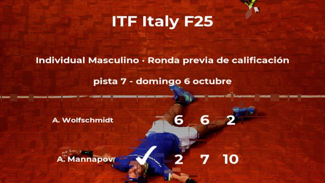 Alexander Mannapov consigue ganar en la ronda previa de calificación contra el tenista Alexander Wolfschmidt