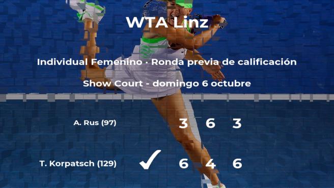 La tenista Tamara Korpatsch pasa a la siguiente fase del torneo WTA International de Linz