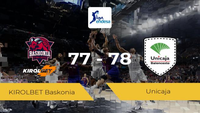 Triunfo del Unicaja en el Fernando Buesa Arena ante el KIROLBET Baskonia por 77-78