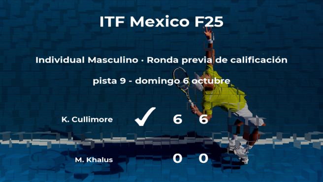 Keaton Cullimore pasa de ronda del torneo de Cancún