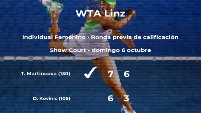 Tereza Martincova vence en la ronda previa de calificación del torneo WTA International de Linz