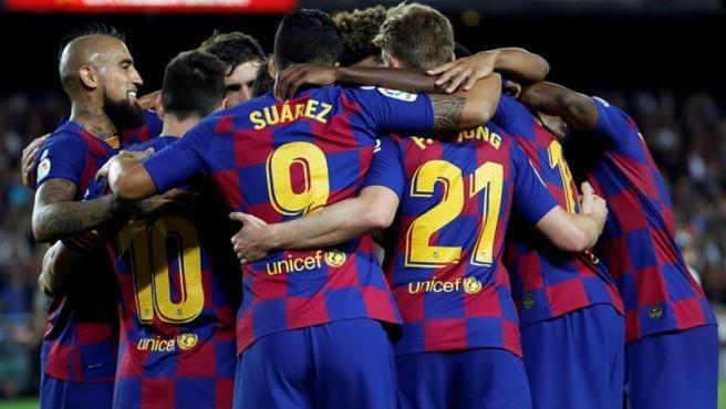 El Barça celebra uno de los goles ante el Sevilla.