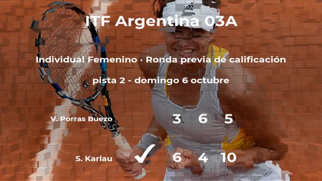 La tenista Sofia Constanza Karlau gana en la ronda previa de calificación del torneo de Buenos Aires