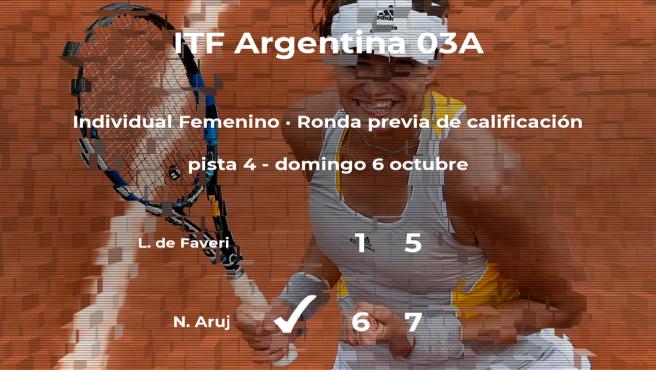 La tenista Natalia Aruj pasa de ronda del torneo de Buenos Aires
