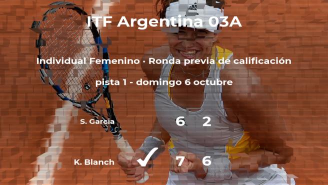 Krystal Blanch vence en la ronda previa de calificación del torneo de Buenos Aires