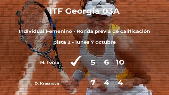 La tenista Maria Toma vence a Diana Krasnova en la ronda previa de calificación