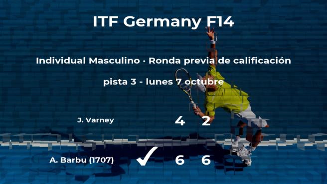 El tenista Adrian Barbu venció a Jackson Varney en la ronda previa de calificación del torneo de Bad Salzdetfurth