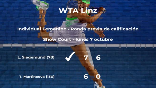 La tenista Laura Siegemund consigue ganar en la ronda previa de calificación a costa de Tereza Martincova