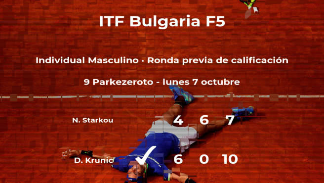 El tenista Danilo Krunic consigue la plaza para la siguiente fase tras vencer en la ronda previa de calificación