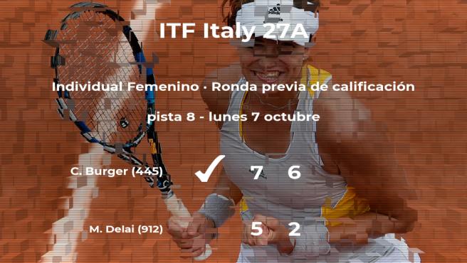 La tenista Cindy Burger pasa a la siguiente fase del torneo de Santa Margherita Di Pula