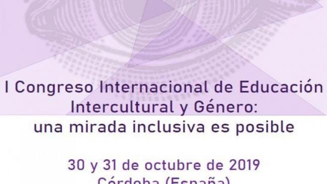 Cartel del I Congreso Internacional de Educación Intercultural y Género, que se celebra en Córdoba del 30 al 31 de octubre.