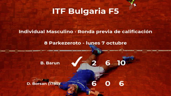 El tenista Bozo Barun venció al tenista Doru Junior Borsan en la ronda previa de calificación del torneo de Burgas