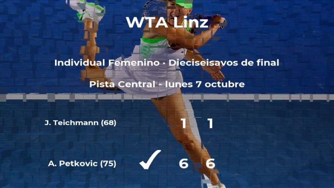 La tenista Andrea Petkovic pasa a la próxima fase del torneo WTA International de Linz tras vencer en los dieciseisavos de final