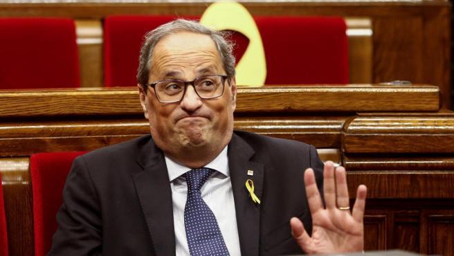 Quim Torra, en el Parlament durante la moción de censura en su contra.