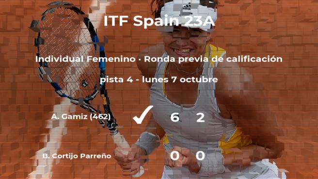 La tenista Blanca Cortijo Parreño se queda fuera del torneo de Ribarroja del Turia