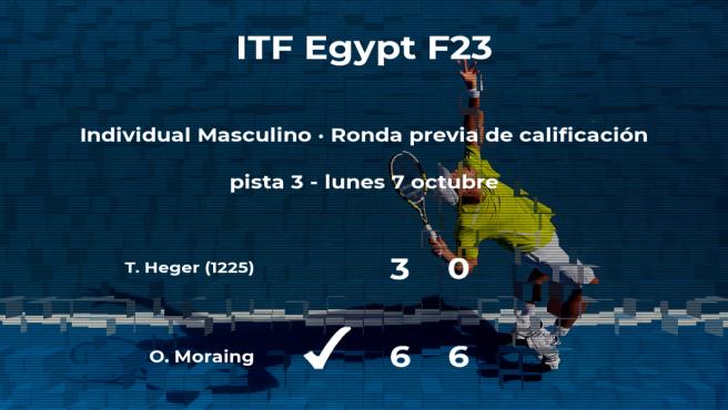 El tenista Oscar Moraing vence en la ronda previa de calificación del torneo de Sharm El Sheikh
