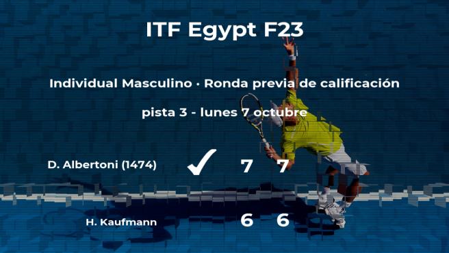 Davide Albertoni vence en la ronda previa de calificación del torneo de Sharm El Sheikh