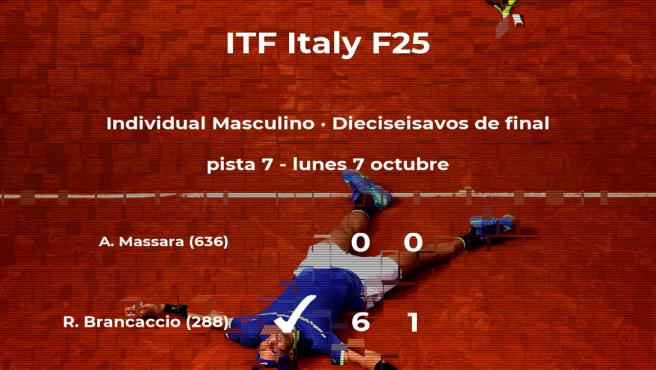 Raul Brancaccio logra clasificarse para los octavos de final a costa de Antonio Massara