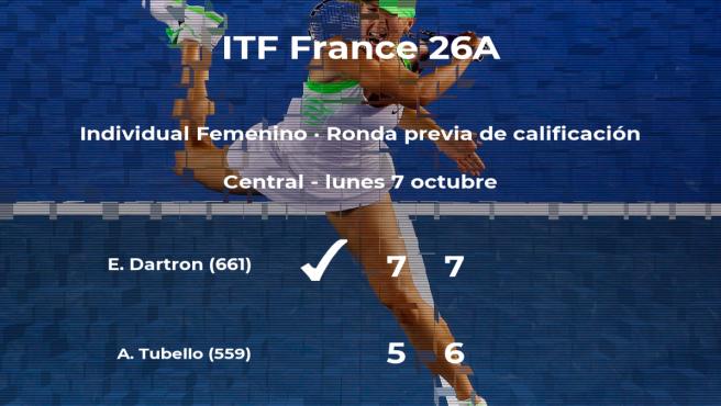 La tenista Emeline Dartron consigue ganar en la ronda previa de calificación a costa de Alice Tubello