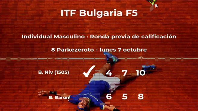 El tenista Benjamin Niv pasa a la siguiente fase del torneo de Burgas
