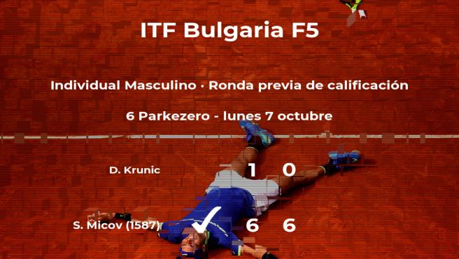 Stefan Micov consigue ganar en la ronda previa de calificación a costa del tenista Danilo Krunic