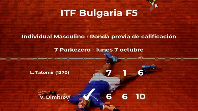 El tenista Vasil Dimitrov consigue la plaza para la siguiente fase tras ganar en la ronda previa de calificación
