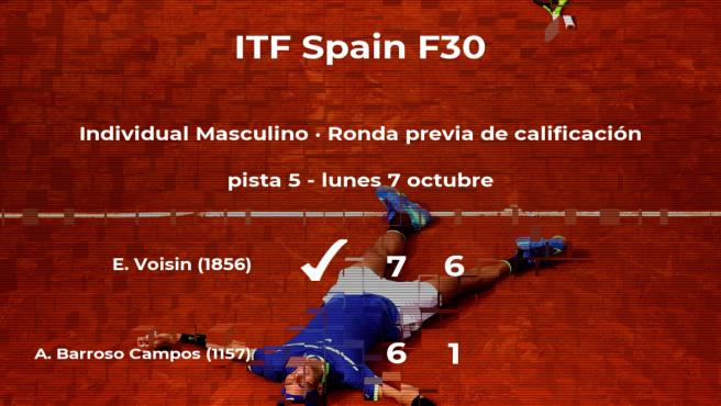 Alberto Barroso Campos cae eliminado en la ronda previa de calificación del torneo de Ribarroja del Turia