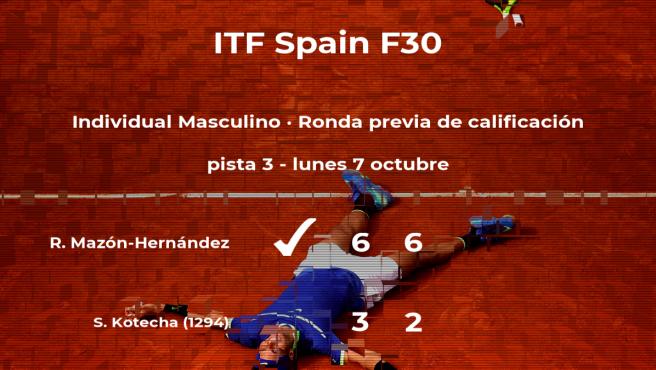 El tenista Rafael Mazón-Hernández logra ganar en la ronda previa de calificación contra Sheil Kotecha
