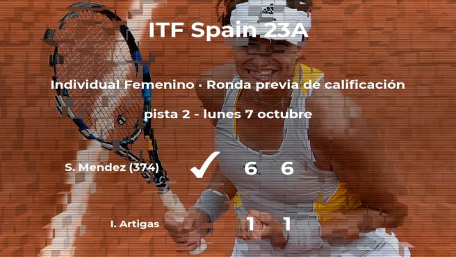 La tenista Irene Artigas se despide del torneo de Ribarroja del Turia