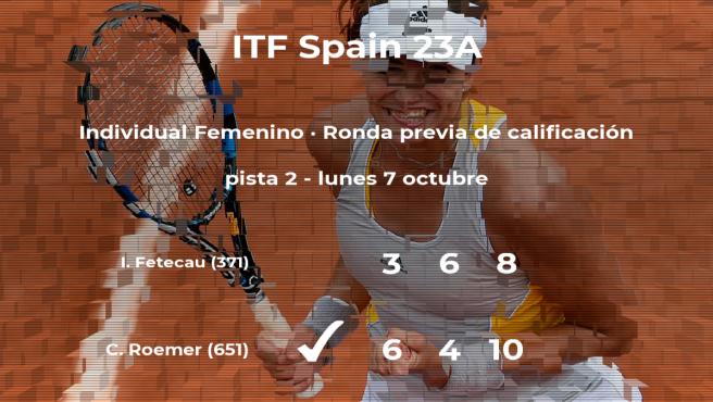 Charlotte Roemer logra vencer en la ronda previa de calificación contra la tenista Irina Fetecau