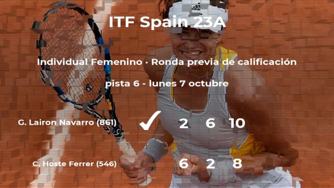La tenista Gemma Lairon Navarro logra vencer en la ronda previa de calificación contra Claudia Hoste Ferrer