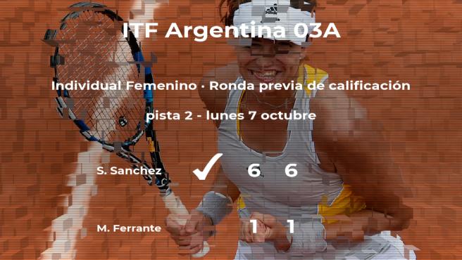 La tenista Sofia Magaly Sanchez consigue la plaza para la siguiente fase tras ganar en la ronda previa de calificación