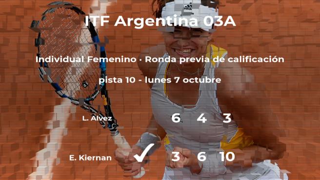 La tenista Emma Erin Kiernan pasa de ronda del torneo de Buenos Aires