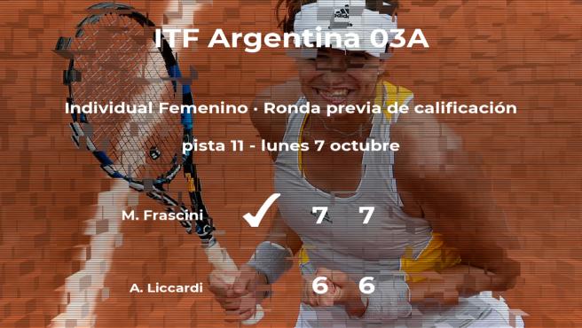 La tenista Maria Daniela Frascini consigue la plaza para la siguiente fase tras vencer en la ronda previa de calificación