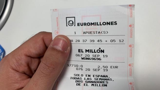 Un boleto de Euromillones.