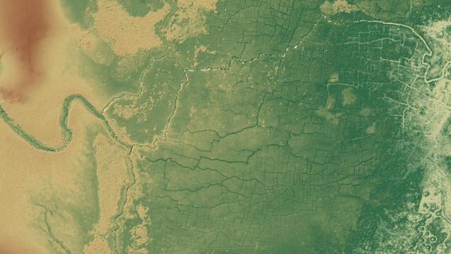 Imagen de satélite tratada digitalmente del complejo de humedales maya conocido como 'Aves del Paraíso', en el noroeste de Belice.