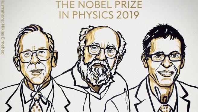 El astrofísico canadiense James Peebles y sus colegas suizos Michel Mayor y Didier Queloz consiguen el Nobel de Física 2019.