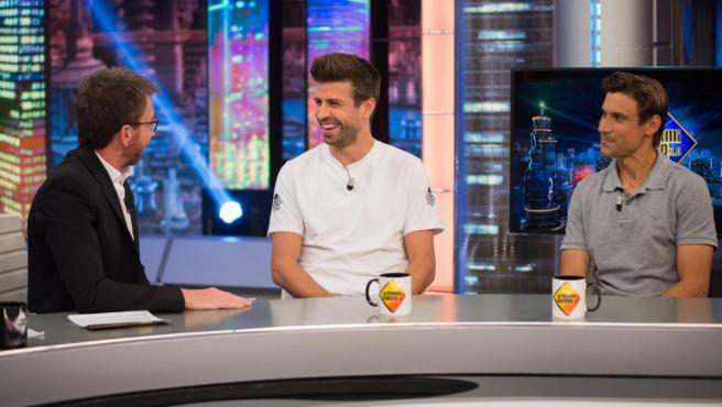Pablo Motos, Gerard Piqué y David Ferrer, en 'El Hormiguero'.