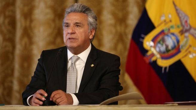 Lenín Moreno, presidente de Ecuador, durante un anuncio.