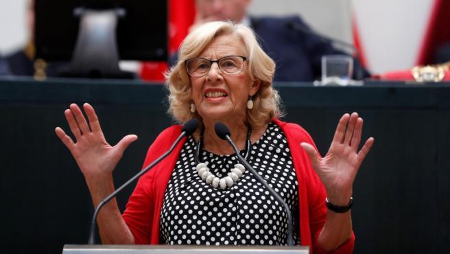 Manuela Carmena durante su discurso en la sesión de constitución del Ayuntamiento de Madrid.