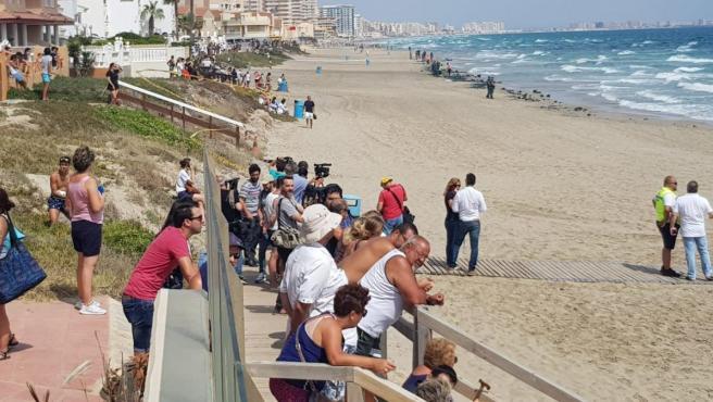 Vecinos y bañistas en La Manga del Mar Menor (Murcia).