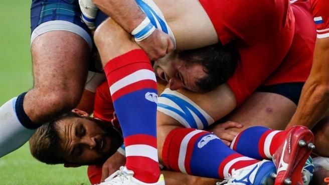 Rusia y Escocia en el Mundial de Rugby, celebrado en Japón