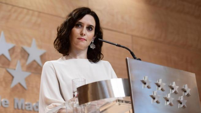Isabel Díaz Ayuso en rueda de prensa tras el Consejo de Gobierno de la Comunidad de Madrid
