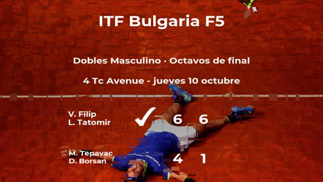 Los tenistas Tepavac y Borsan quedan eliminados en los octavos de final del torneo de Burgas